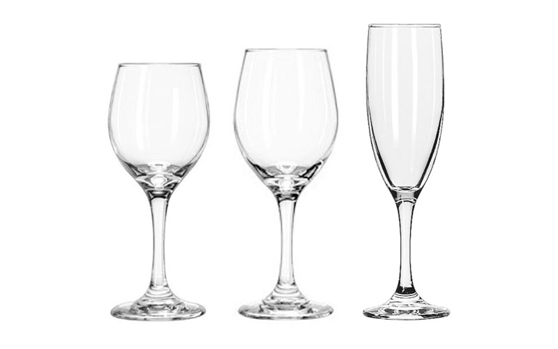 Libbey White Wine Glass, Libbey Red Wine Glass & Champagne Flutes